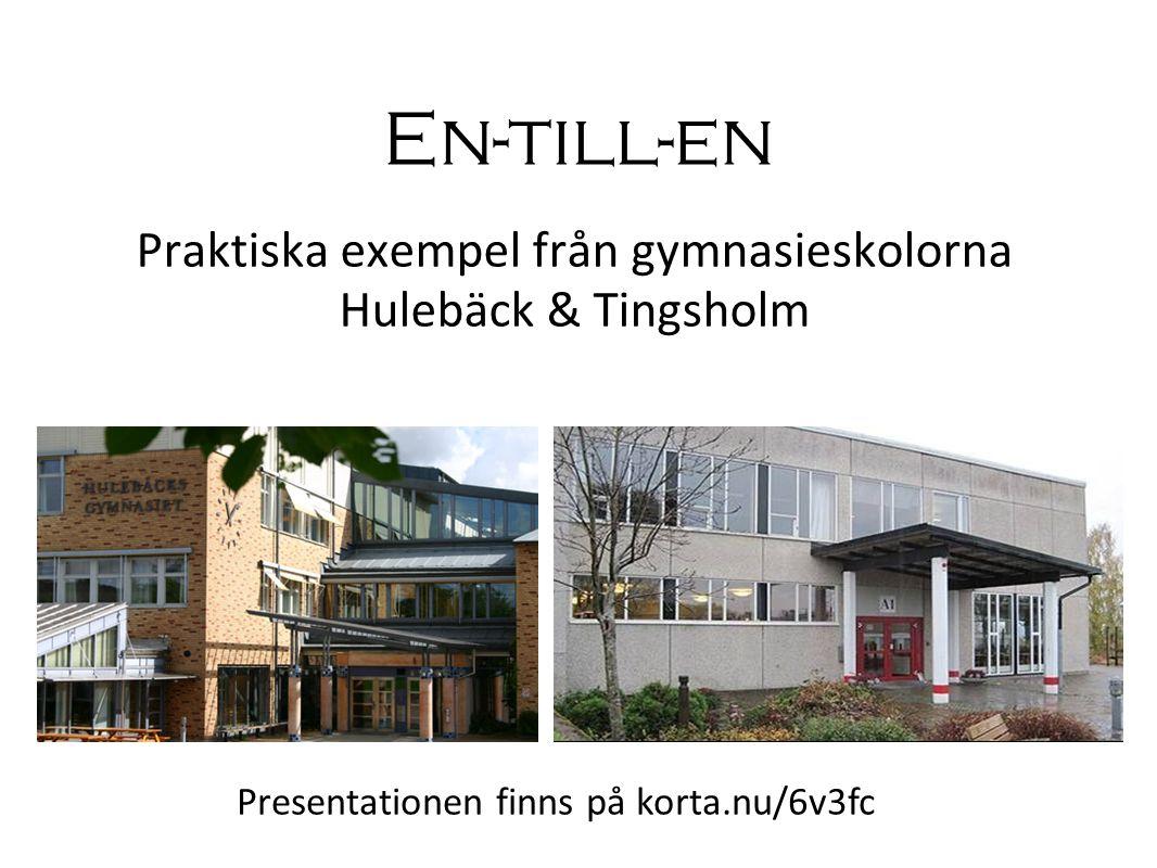 Hulebäck i Mölnlycke Praktiskt & teoretiskt ca 1700 elever 200 personal åk 1-2 har bärbar dator Biblioteket 3 bibliotekarier Integrerat med folkbiblioteket.