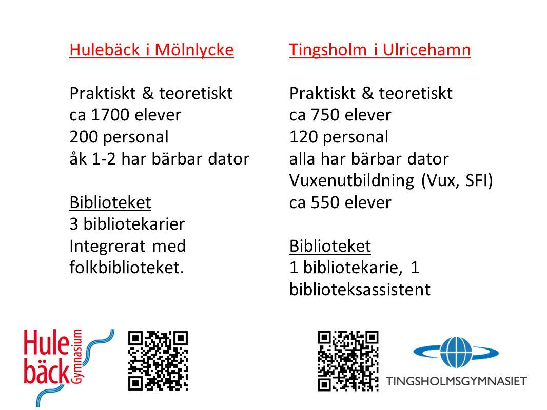 Hulebäck i Mölnlycke Praktiskt & teoretiskt ca 1700 elever 200 personal åk 1-2 har bärbar dator Biblioteket 3 bibliotekarier Integrerat med folkbiblio