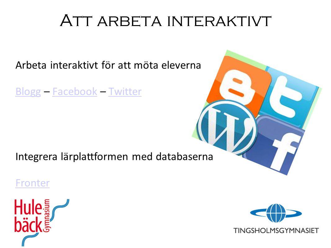 Att arbeta interaktivt Arbeta interaktivt för att möta eleverna BloggBlogg – Facebook – TwitterFacebookTwitter Integrera lärplattformen med databasern