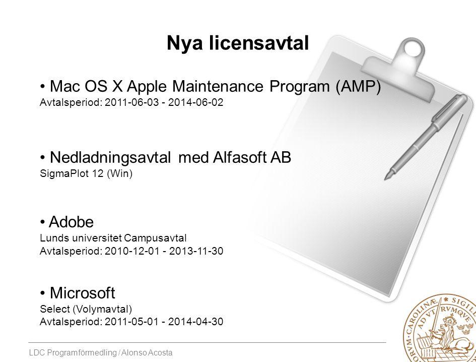 LDC Programförmedling / Alonso Acosta Nya licensavtal Mac OS X Apple Maintenance Program (AMP) Avtalsperiod: 2011-06-03 - 2014-06-02 Nedladningsavtal
