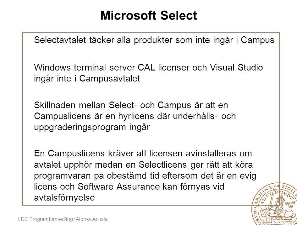 LDC Programförmedling / Alonso Acosta Microsoft Select Selectavtalet täcker alla produkter som inte ingår i Campus Windows terminal server CAL license