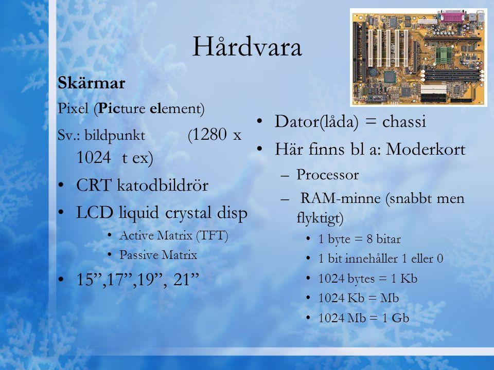 Hårdvara Skärmar Pixel (Picture element) Sv.: bildpunkt ( 1280 x 1024 t ex) CRT katodbildrör LCD liquid crystal disp Active Matrix (TFT) Passive Matri