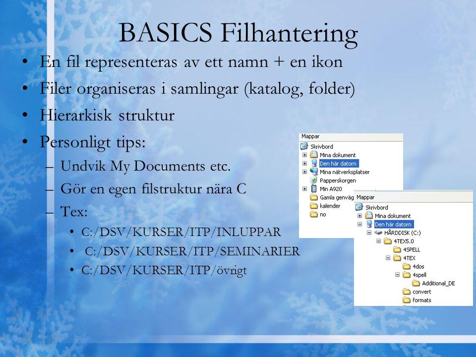 BASICS Filhantering En fil representeras av ett namn + en ikon Filer organiseras i samlingar (katalog, folder) Hierarkisk struktur Personligt tips: –U