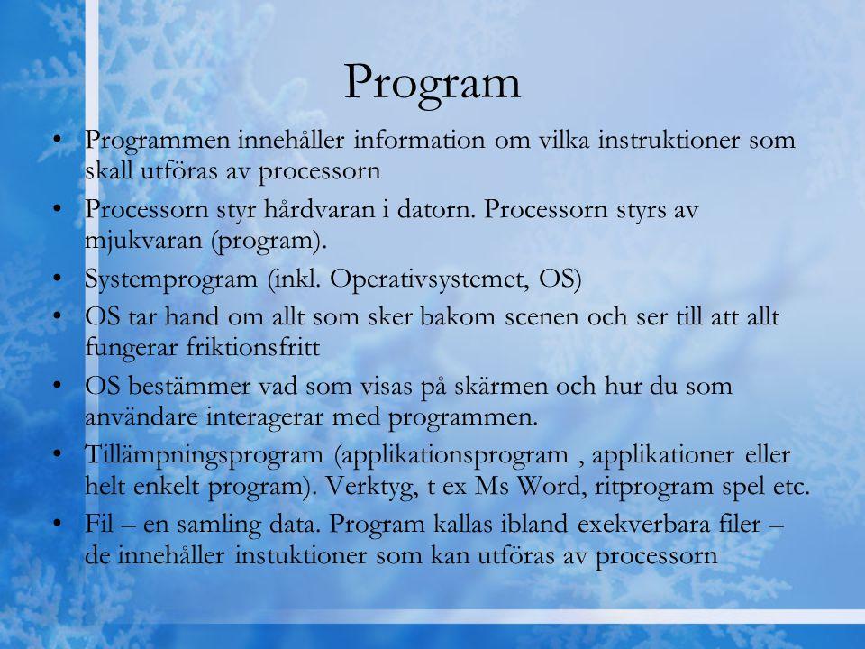 Program Programmen innehåller information om vilka instruktioner som skall utföras av processorn Processorn styr hårdvaran i datorn. Processorn styrs