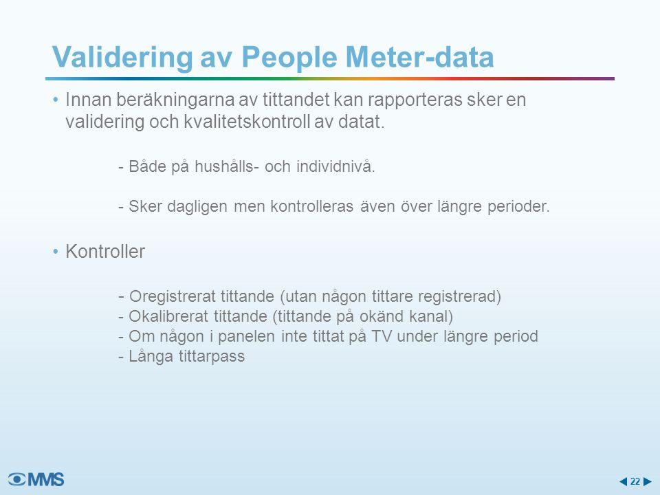 Innan beräkningarna av tittandet kan rapporteras sker en validering och kvalitetskontroll av datat. - Både på hushålls- och individnivå. - Sker daglig