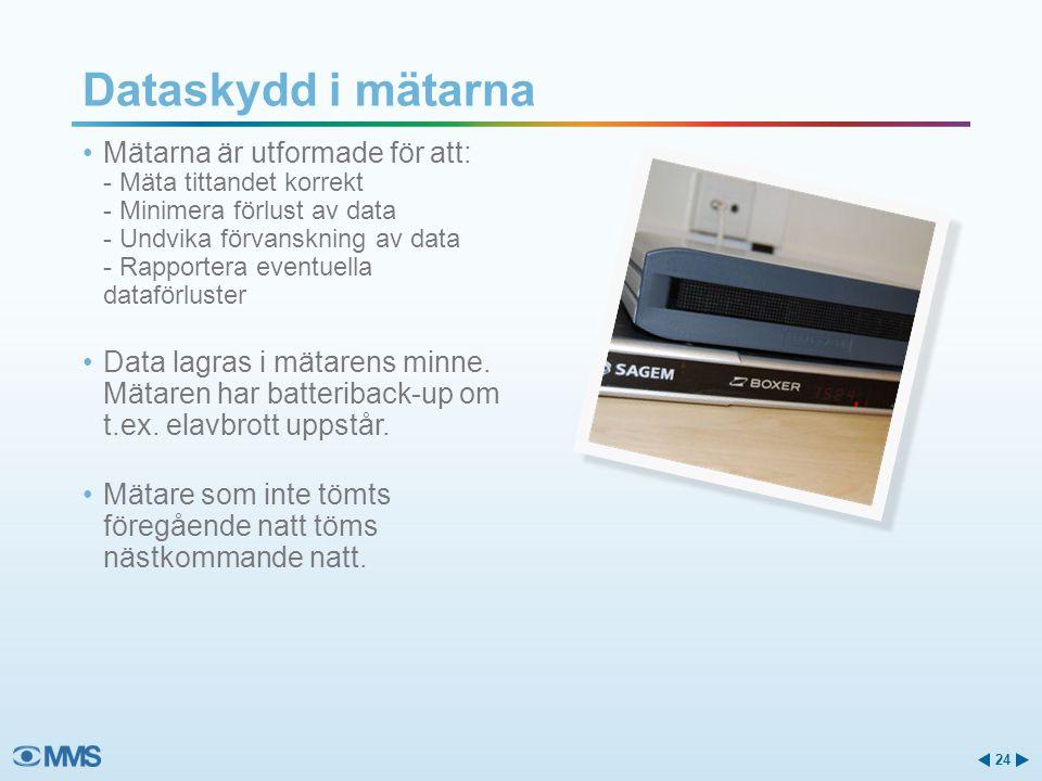 Dataskydd i mätarna Mätarna är utformade för att: - Mäta tittandet korrekt - Minimera förlust av data - Undvika förvanskning av data - Rapportera eventuella dataförluster Data lagras i mätarens minne.