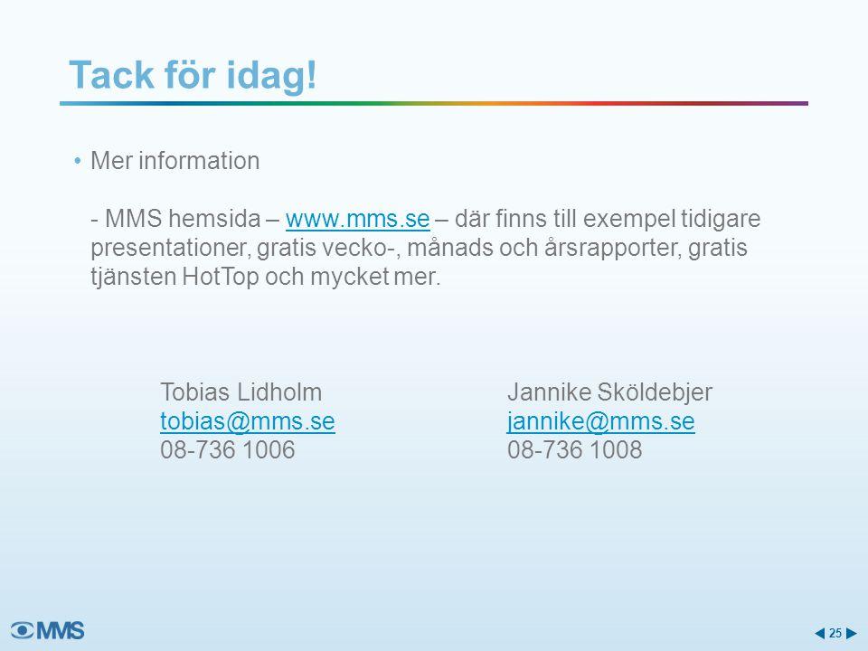 Mer information - MMS hemsida – www.mms.se – där finns till exempel tidigare presentationer, gratis vecko-, månads och årsrapporter, gratis tjänsten H