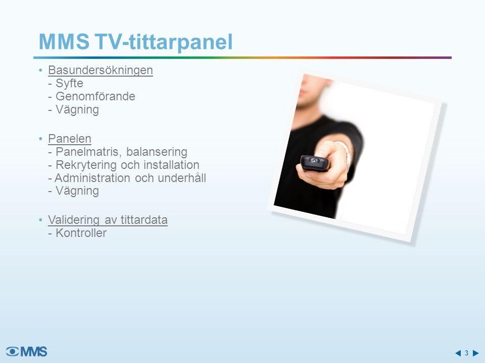 MMS TV-tittarpanel Basundersökningen - Syfte - Genomförande - Vägning Panelen - Panelmatris, balansering - Rekrytering och installation - Administration och underhåll - Vägning Validering av tittardata - Kontroller 3