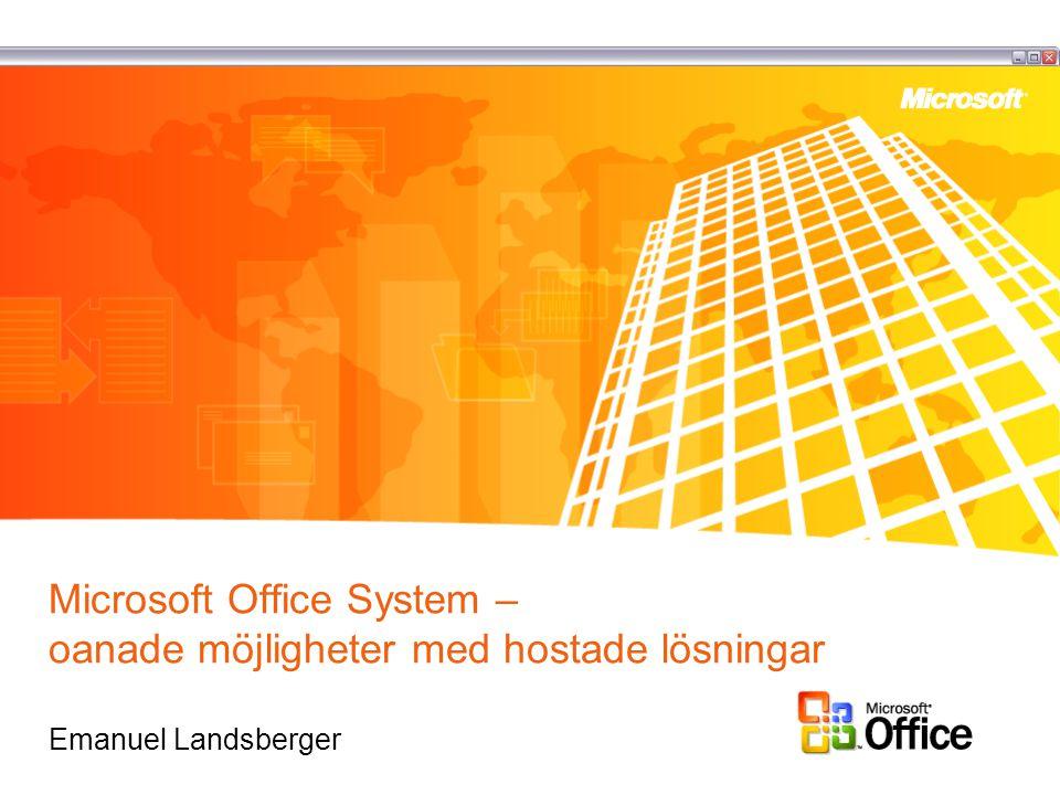Microsoft Office System – oanade möjligheter med hostade lösningar Emanuel Landsberger
