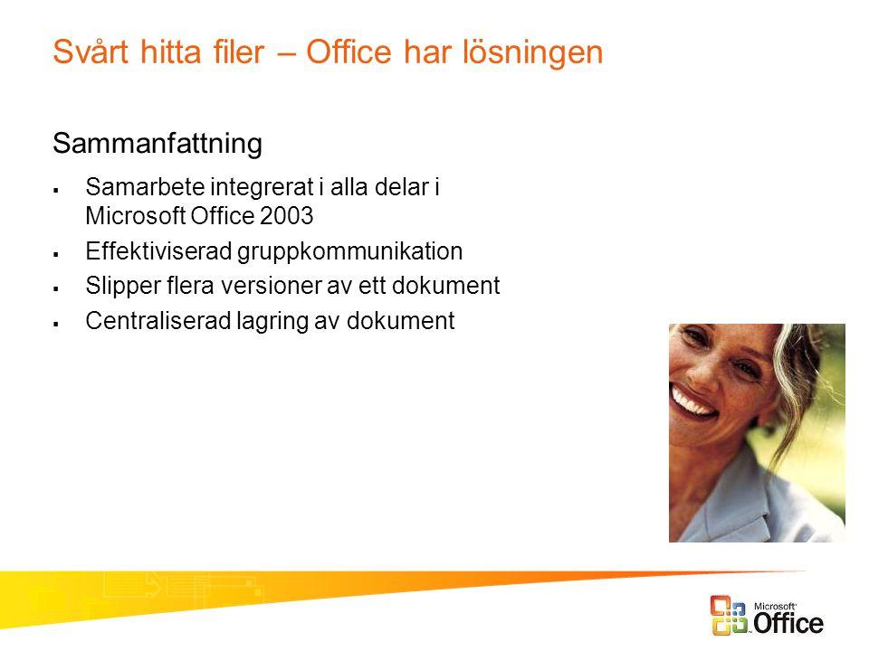 Svårt hitta filer – Office har lösningen Sammanfattning  Samarbete integrerat i alla delar i Microsoft Office 2003  Effektiviserad gruppkommunikatio