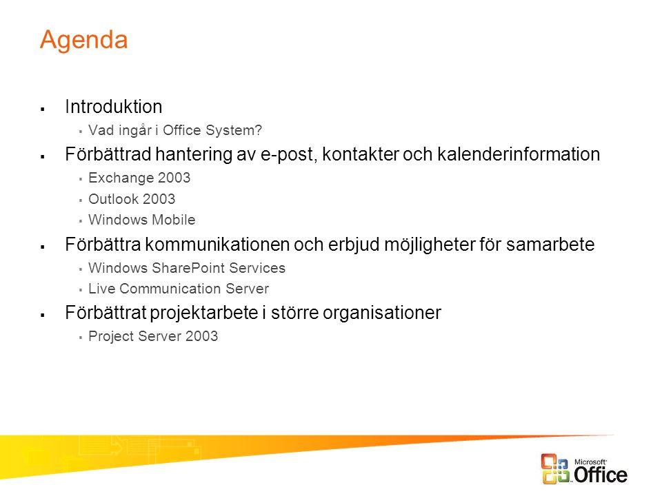 Agenda  Introduktion  Vad ingår i Office System?  Förbättrad hantering av e-post, kontakter och kalenderinformation  Exchange 2003  Outlook 2003