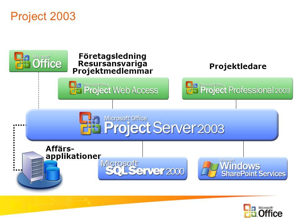 Företagsledning Resursansvariga Projektmedlemmar Projektledare Affärs- applikationer Project 2003