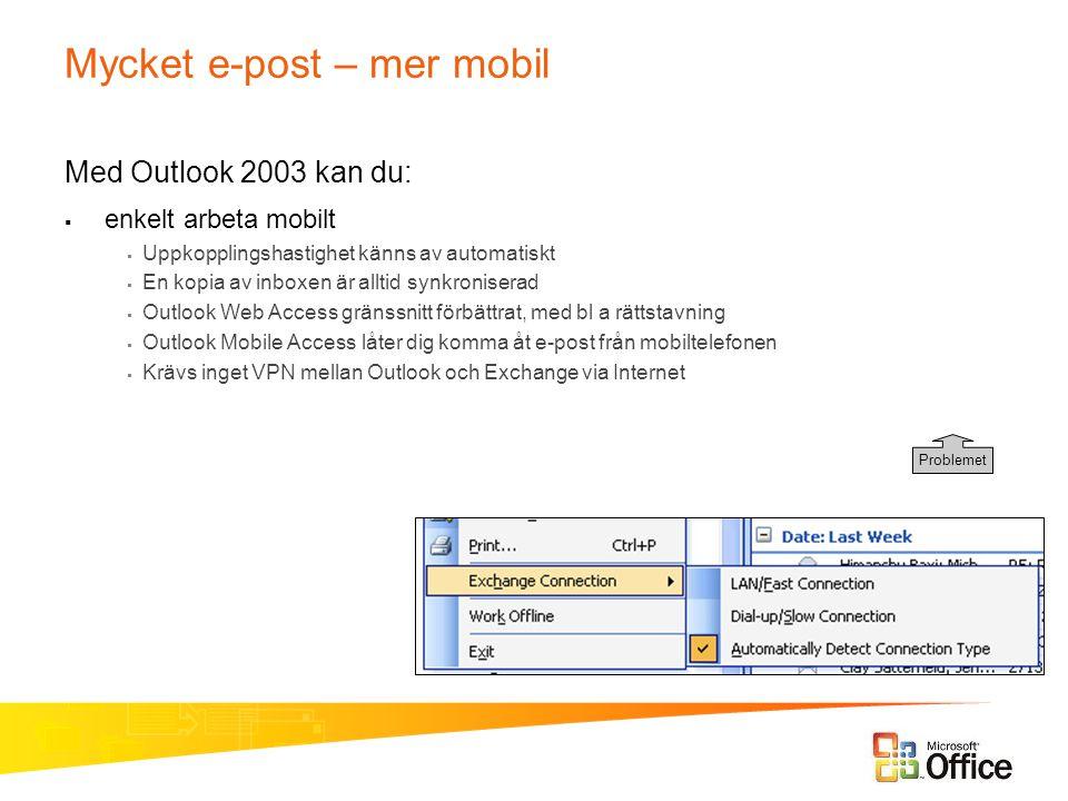 Mycket e-post – mer mobil Med Outlook 2003 kan du:  enkelt arbeta mobilt  Uppkopplingshastighet känns av automatiskt  En kopia av inboxen är alltid