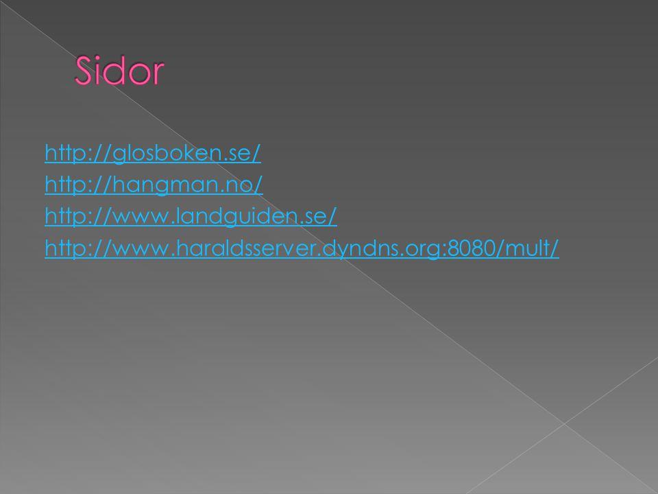 http://glosboken.se/ http://hangman.no/ http://www.landguiden.se/ http://www.haraldsserver.dyndns.org:8080/mult/