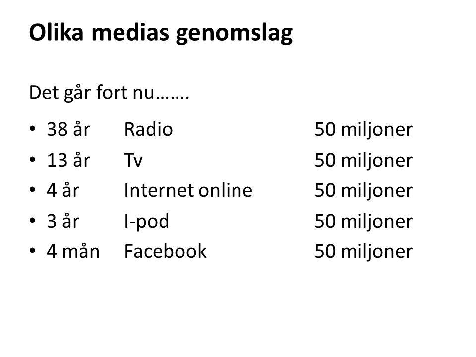 Olika medias genomslag Det går fort nu……. 38 årRadio50 miljoner 13 årTv50 miljoner 4 årInternet online50 miljoner 3 årI-pod50 miljoner 4 månFacebook50