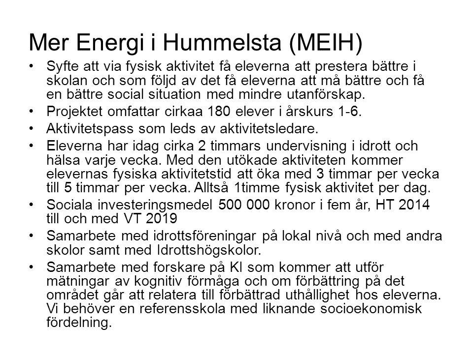 Mer Energi i Hummelsta (MEIH) Syfte att via fysisk aktivitet få eleverna att prestera bättre i skolan och som följd av det få eleverna att må bättre o