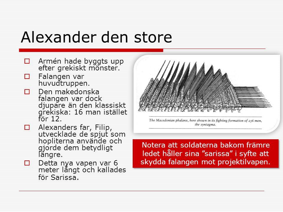 Alexander den store  Armén hade byggts upp efter grekiskt mönster.  Falangen var huvudtruppen.  Den makedonska falangen var dock djupare än den kla