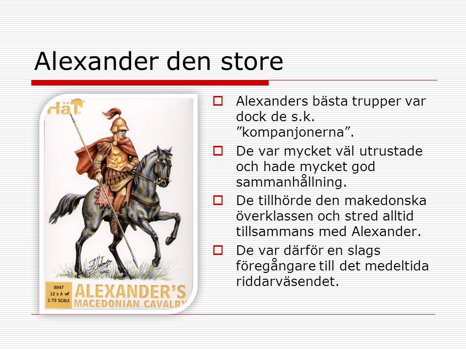 """Alexander den store  Alexanders bästa trupper var dock de s.k. """"kompanjonerna"""".  De var mycket väl utrustade och hade mycket god sammanhållning.  D"""