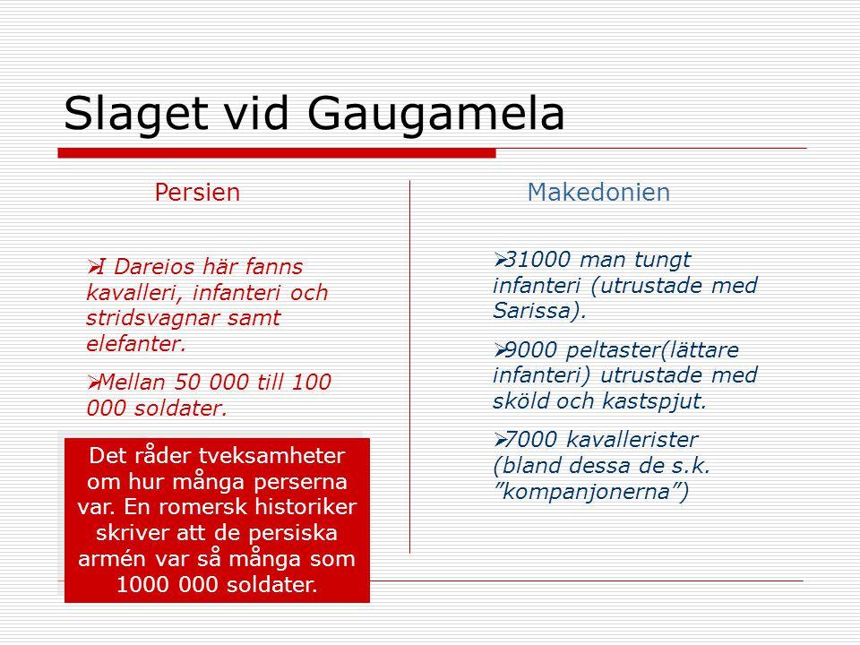 Slaget vid Gaugamela PersienMakedonien  31000 man tungt infanteri (utrustade med Sarissa).  9000 peltaster(lättare infanteri) utrustade med sköld oc