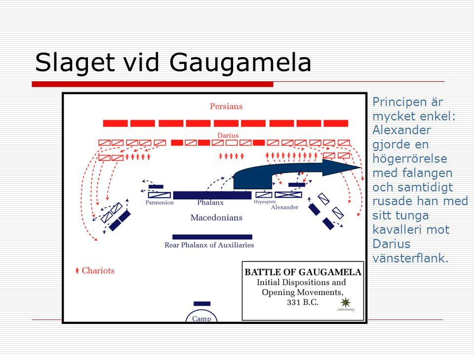 Slaget vid Gaugamela Principen är mycket enkel: Alexander gjorde en högerrörelse med falangen och samtidigt rusade han med sitt tunga kavalleri mot Da