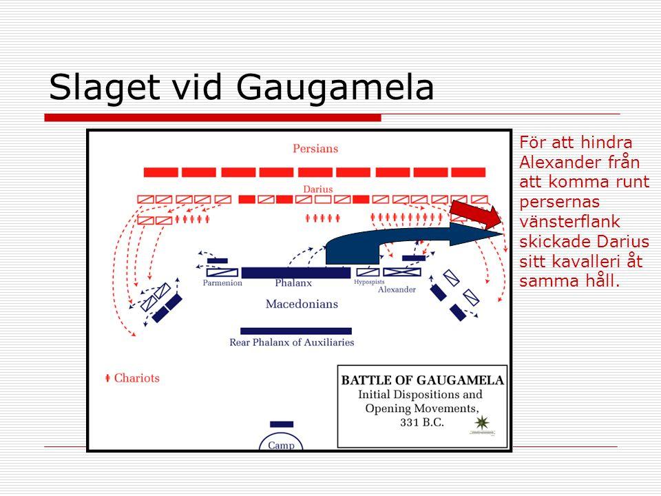 Slaget vid Gaugamela För att hindra Alexander från att komma runt persernas vänsterflank skickade Darius sitt kavalleri åt samma håll.