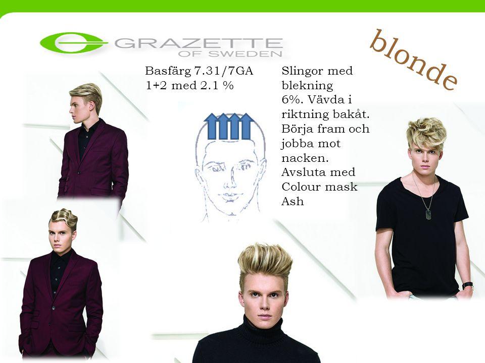 blonde Basfärg 7.31/7GA 1+2 med 2.1 % Slingor med blekning 6%.