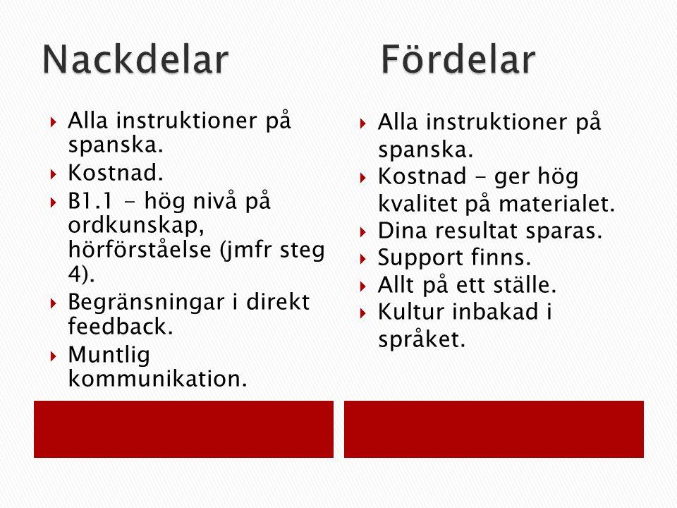  Alla instruktioner på spanska.  Kostnad.  B1.1 - hög nivå på ordkunskap, hörförståelse (jmfr steg 4).  Begränsningar i direkt feedback.  Muntlig