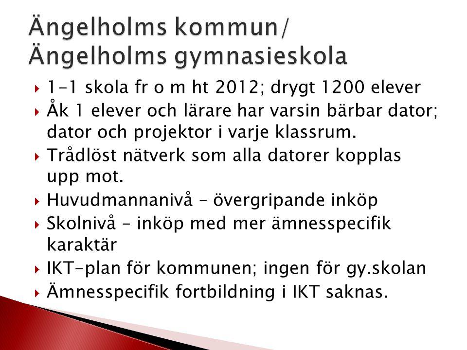  1-1 skola fr o m ht 2012; drygt 1200 elever  Åk 1 elever och lärare har varsin bärbar dator; dator och projektor i varje klassrum.