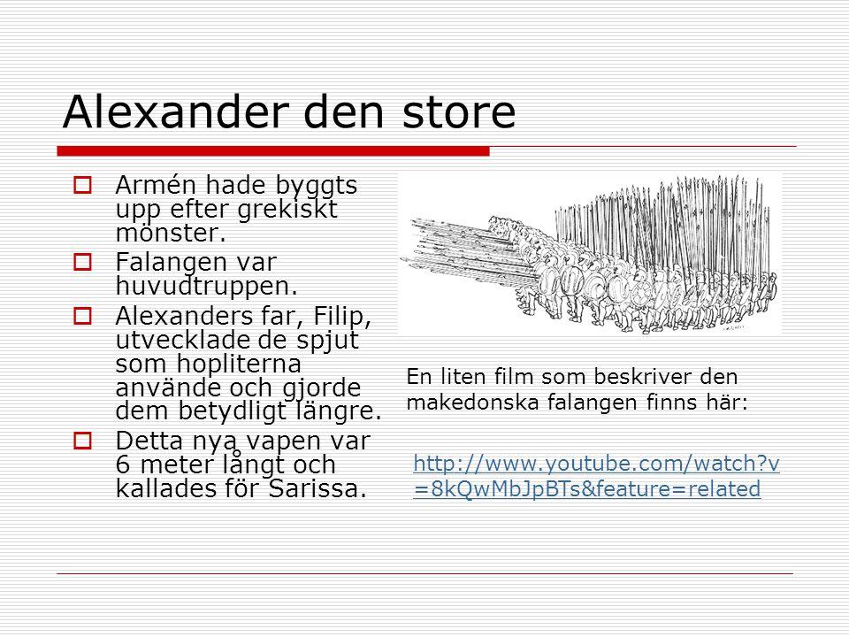 Alexander den store http://www.youtube.com/watch?v =8kQwMbJpBTs&feature=related  Armén hade byggts upp efter grekiskt mönster.  Falangen var huvudtr