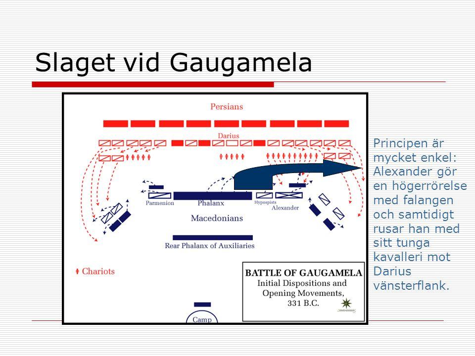 Slaget vid Gaugamela Principen är mycket enkel: Alexander gör en högerrörelse med falangen och samtidigt rusar han med sitt tunga kavalleri mot Darius vänsterflank.