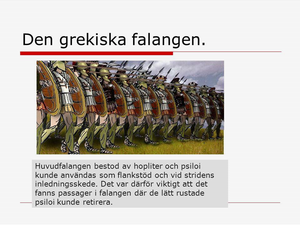 Den grekiska falangen. Huvudfalangen bestod av hopliter och psiloi kunde användas som flankstöd och vid stridens inledningsskede. Det var därför vikti