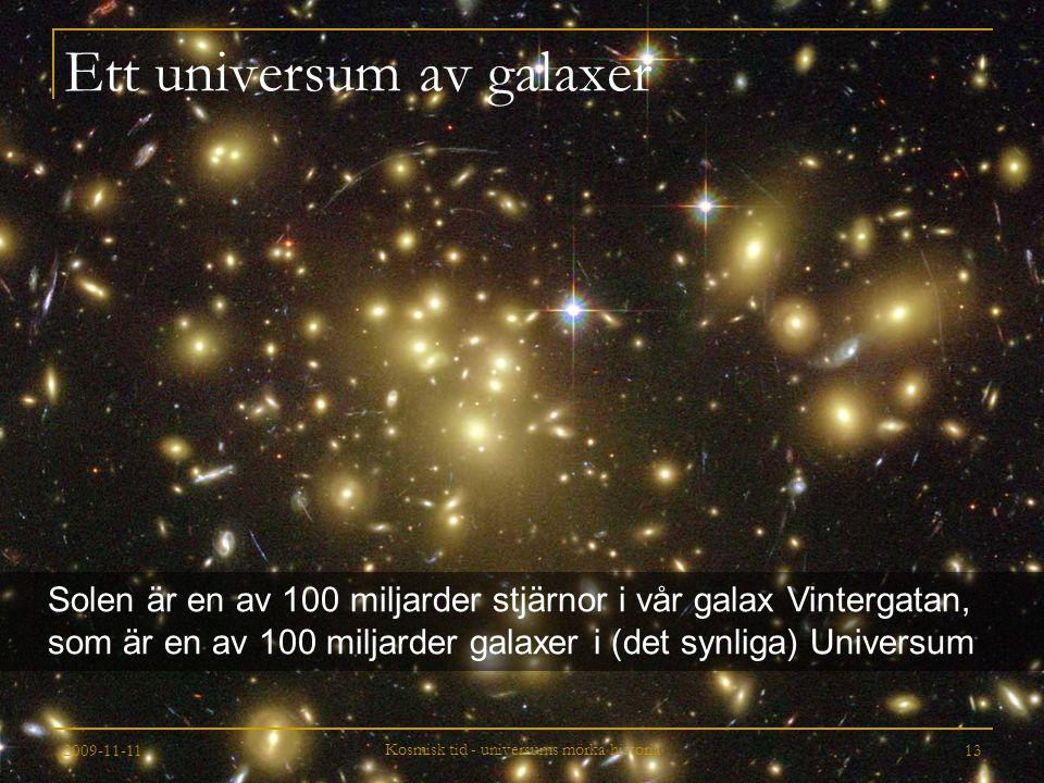2009-11-11 Kosmisk tid - universums mörka historia 13 Ett universum av galaxer Solen är en av 100 miljarder stjärnor i vår galax Vintergatan, som är e