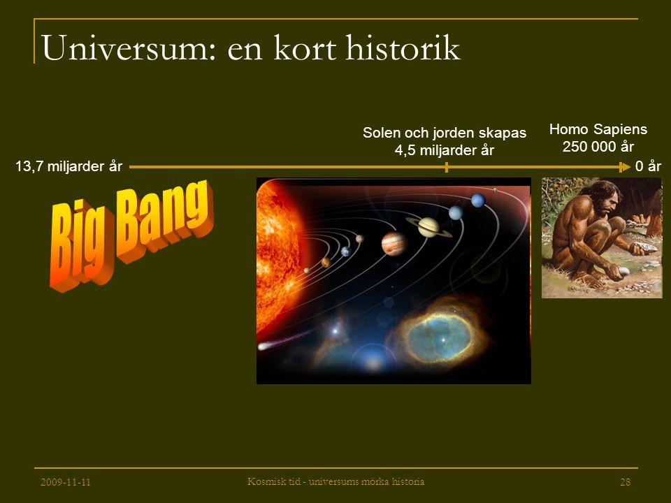 2009-11-11 Kosmisk tid - universums mörka historia 28 Universum: en kort historik 13,7 miljarder år Solen och jorden skapas 4,5 miljarder år 0 år Homo