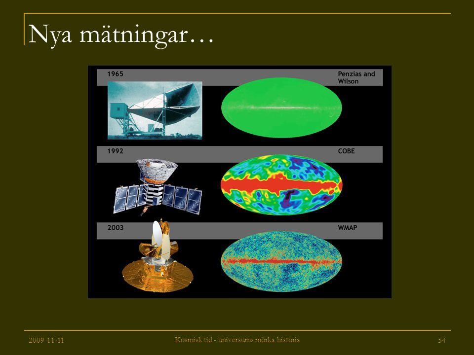 2009-11-11 Kosmisk tid - universums mörka historia 54 Nya mätningar…