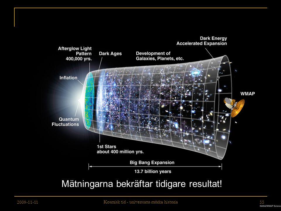 2009-11-11 Kosmisk tid - universums mörka historia 55 Mätningarna bekräftar tidigare resultat!