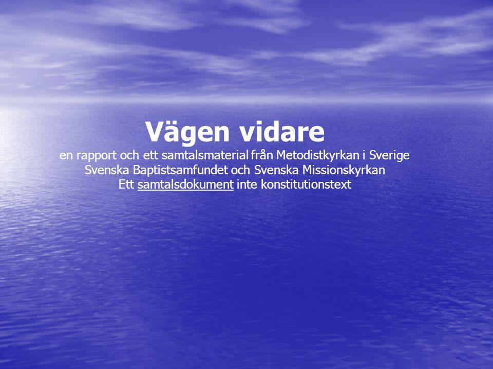 Vägen vidare en rapport och ett samtalsmaterial från Metodistkyrkan i Sverige Svenska Baptistsamfundet och Svenska Missionskyrkan Ett samtalsdokument inte konstitutionstext