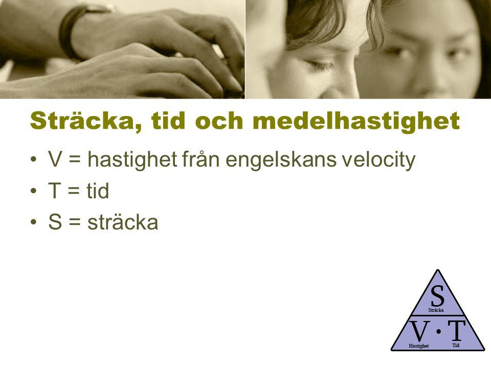 Sträcka, tid och medelhastighet V = hastighet från engelskans velocity T = tid S = sträcka
