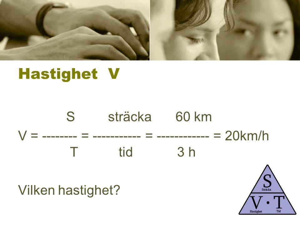 Hastighet V Ssträcka 60 km V = -------- = ----------- = ------------ = 20km/h T tid 3 h Vilken hastighet?