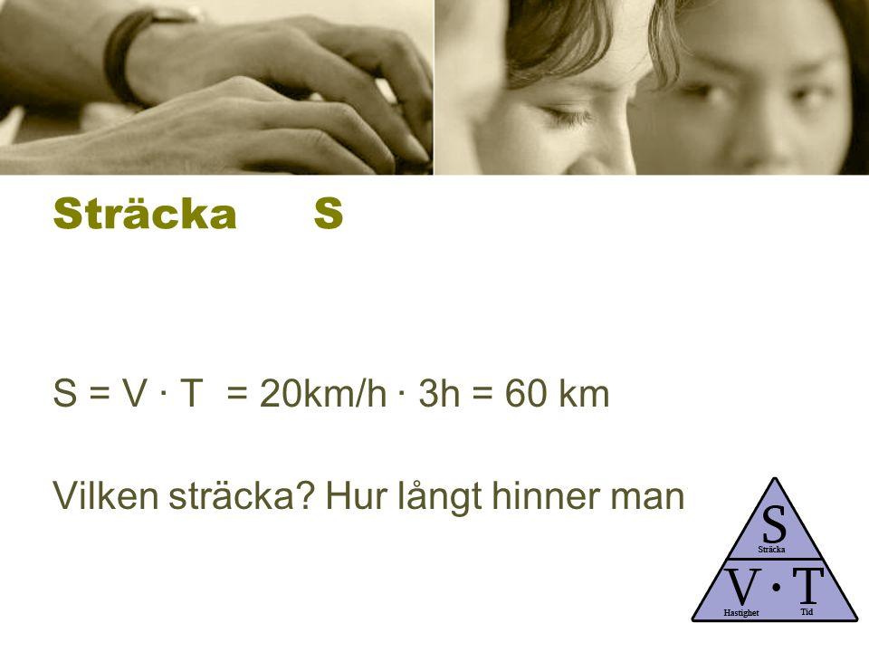 Sträcka S S = V ∙ T= 20km/h ∙ 3h = 60 km Vilken sträcka? Hur långt hinner man?