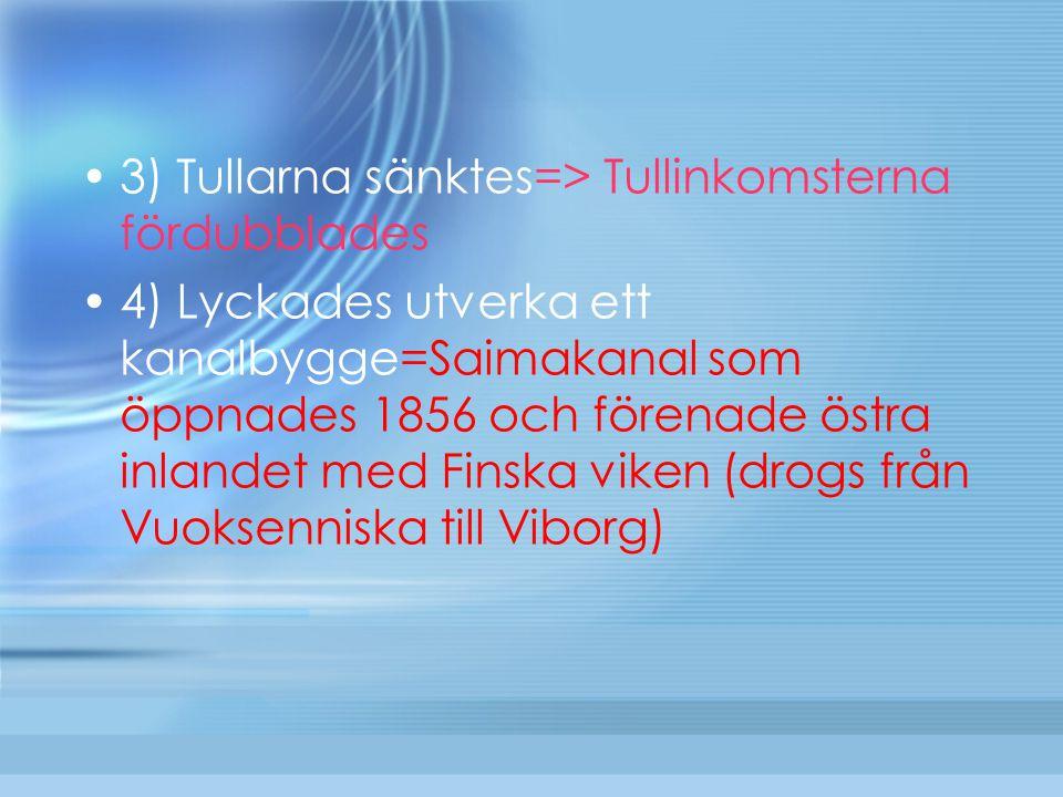 3) Tullarna sänktes=> Tullinkomsterna fördubblades 4) Lyckades utverka ett kanalbygge=Saimakanal som öppnades 1856 och förenade östra inlandet med Fin