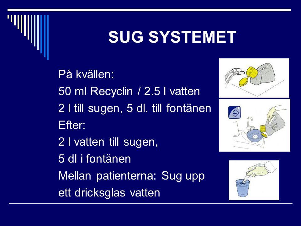 SUG SYSTEMET På kvällen: 50 ml Recyclin / 2.5 l vatten 2 l till sugen, 5 dl. till fontänen Efter: 2 l vatten till sugen, 5 dl i fontänen Mellan patien