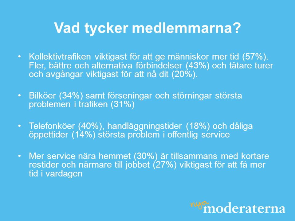 Vad tycker medlemmarna. Kollektivtrafiken viktigast för att ge människor mer tid (57%).