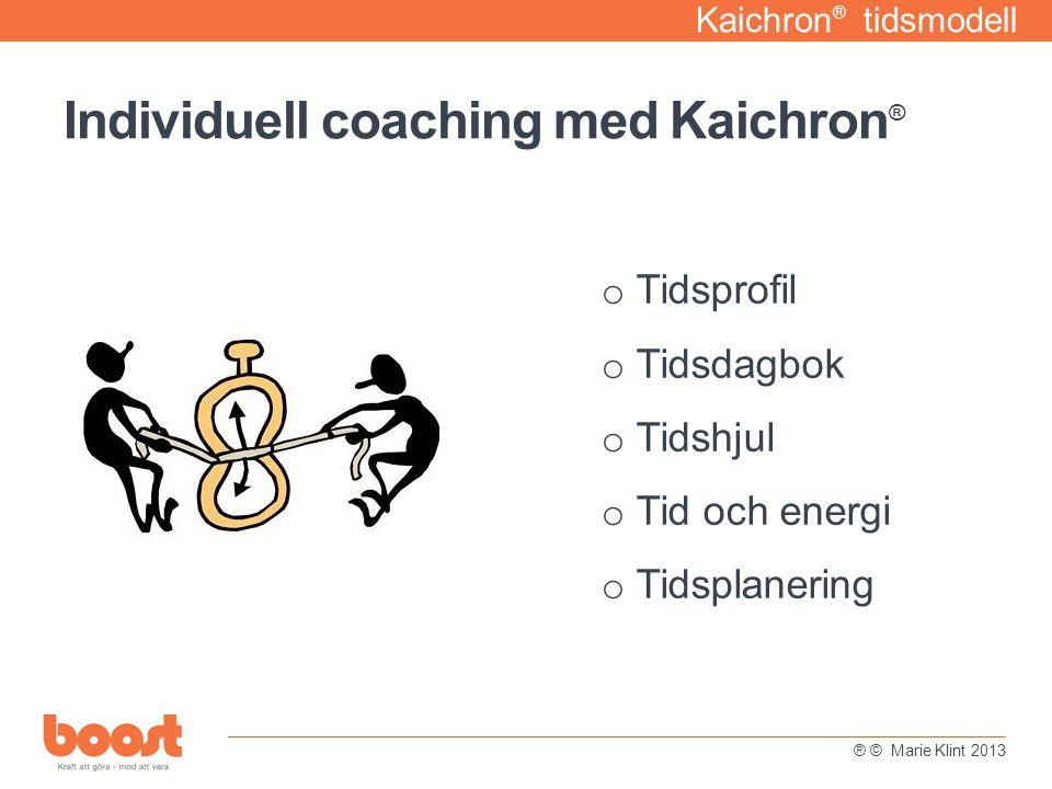Kaichron ® tidsmodell o Tidsprofil o Tidsdagbok o Tidshjul o Tid och energi o Tidsplanering Individuell coaching med Kaichron ® ® © Marie Klint 2013