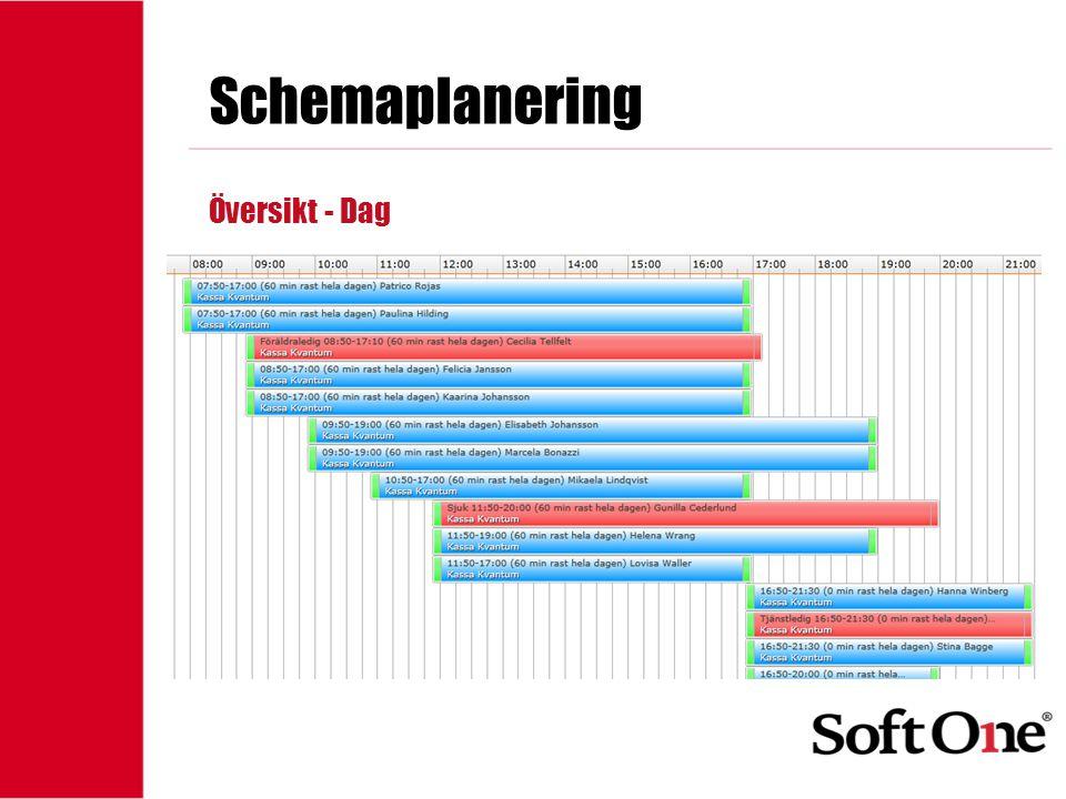 1-15 anställda Schemaplanering Översikt - Dag