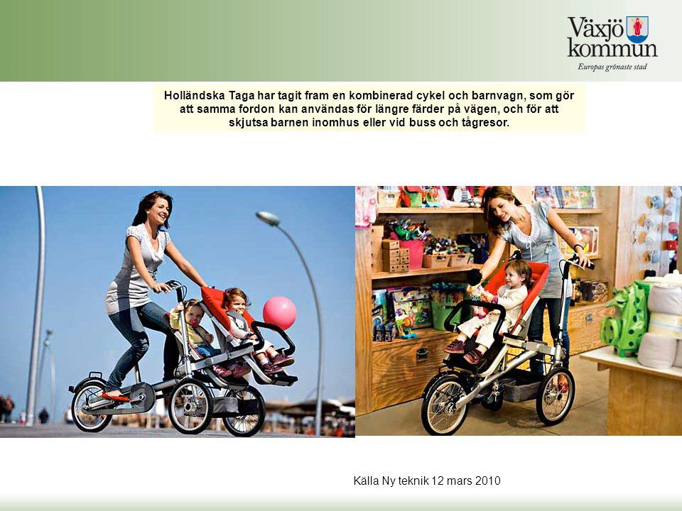 Holländska Taga har tagit fram en kombinerad cykel och barnvagn, som gör att samma fordon kan användas för längre färder på vägen, och för att skjutsa barnen inomhus eller vid buss och tågresor.