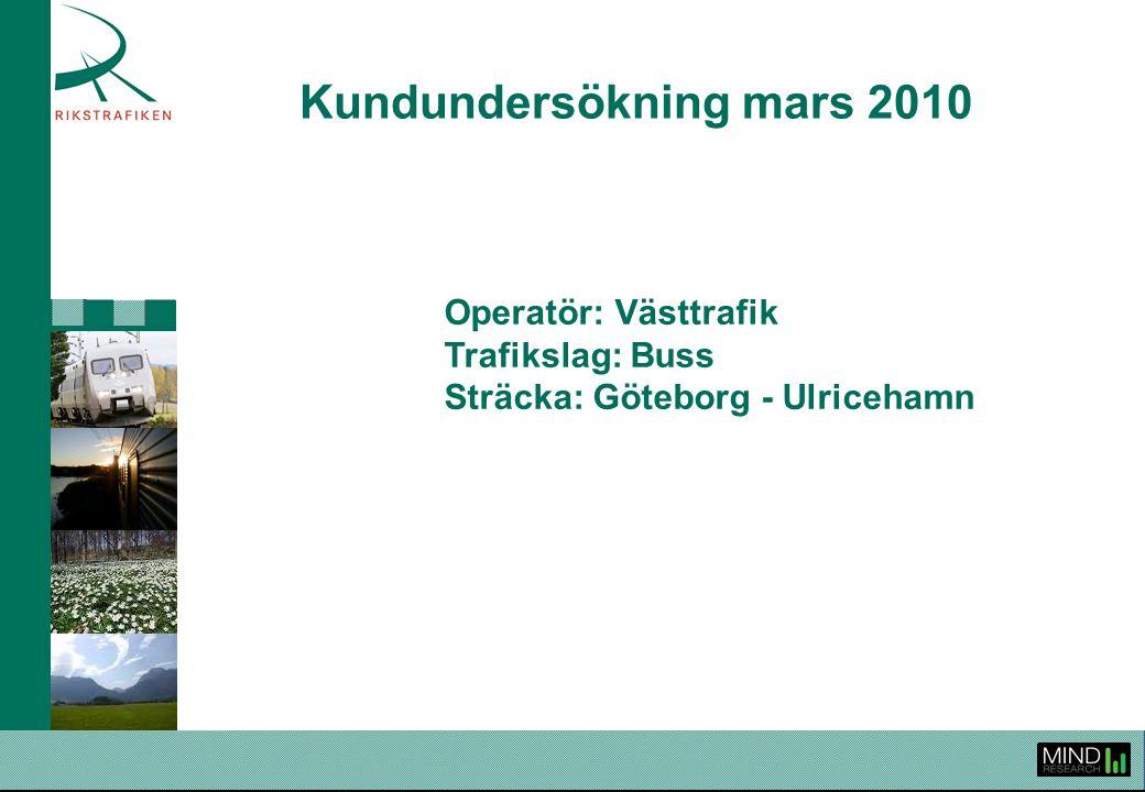 Kundundersökning mars 2010 Operatör: Västtrafik Trafikslag: Buss Sträcka: Göteborg - Ulricehamn