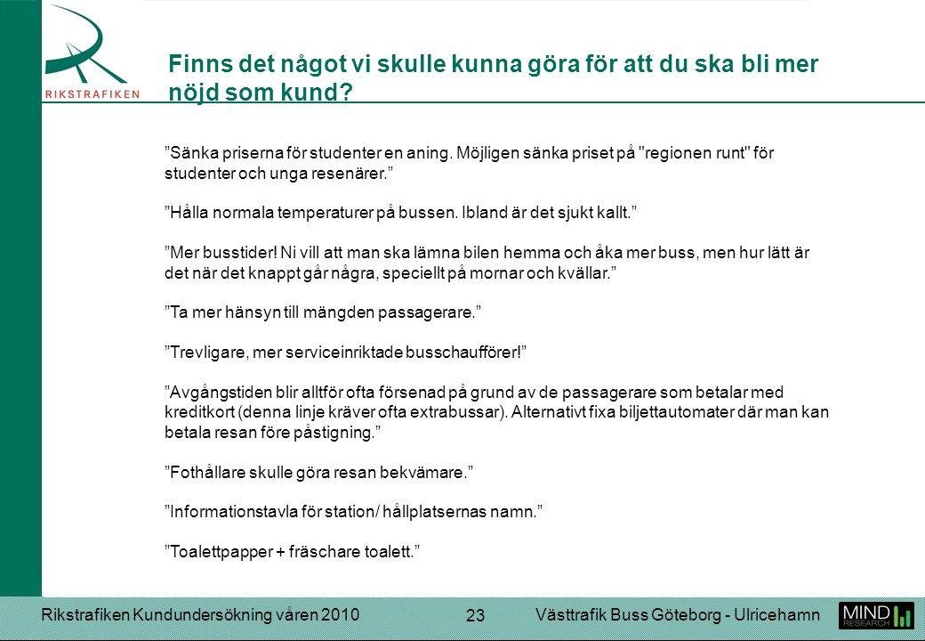 """Rikstrafiken Kundundersökning våren 2010Västtrafik Buss Göteborg - Ulricehamn 23 """"Sänka priserna för studenter en aning. Möjligen sänka priset på"""