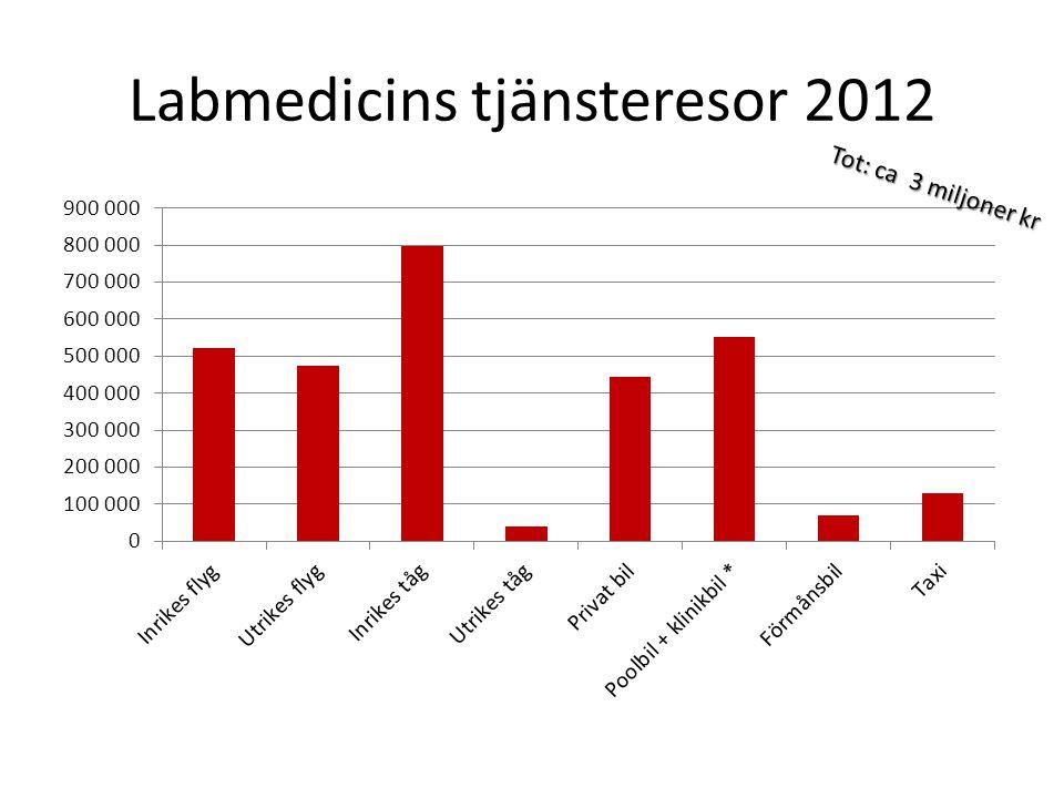 Labmedicins tjänsteresor 2012 Tot: ca 3 miljoner kr