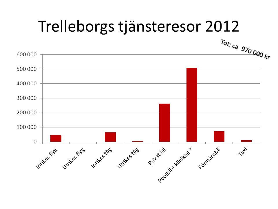 Trelleborgs tjänsteresor 2012 Tot: ca 970 000 kr