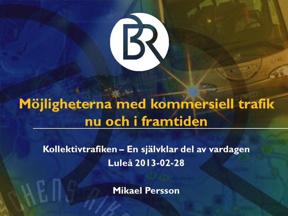 Möjligheterna med kommersiell trafik nu och i framtiden Kollektivtrafiken – En självklar del av vardagen Luleå 2013-02-28 Mikael Persson